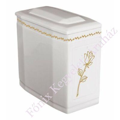 Fehér iker urna rózsával
