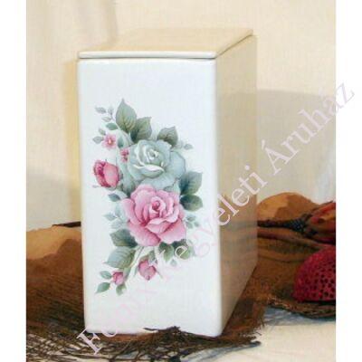 Iker fehér urna színes rózsával