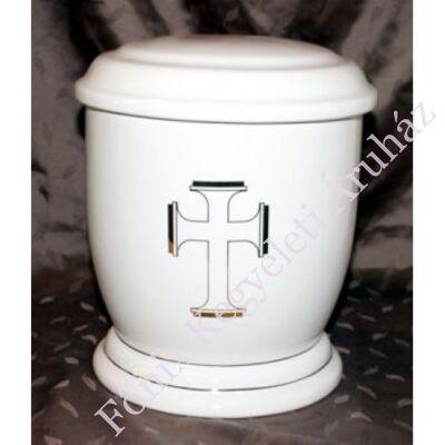 Fehér urna széles arany kereszttel