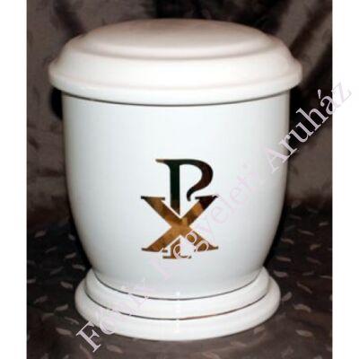 Fehér urna arany pax motívummal