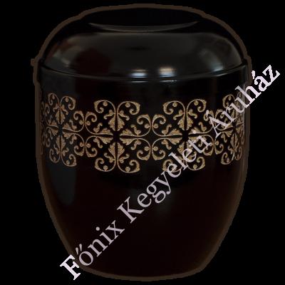 Fekete, girlandos fém urna