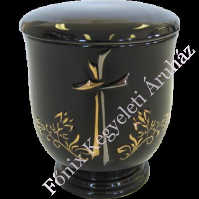 Keresztes, aranyozott kerámia urna - fekete
