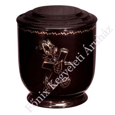 Fekete urna arany rózsával, kereszttel