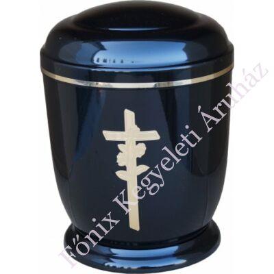 Fekete, arany rózsás keresztes fém urna