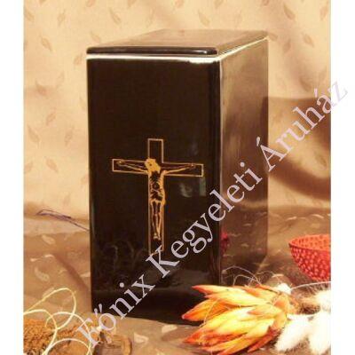 Iker fekete urna arany feszülettel