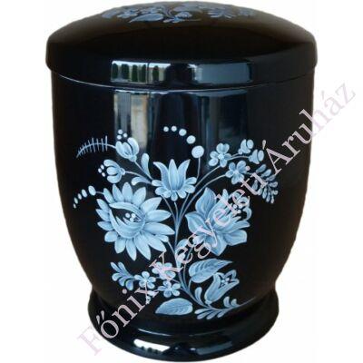 Fekete kerámia urna fehér kalocsai mintával