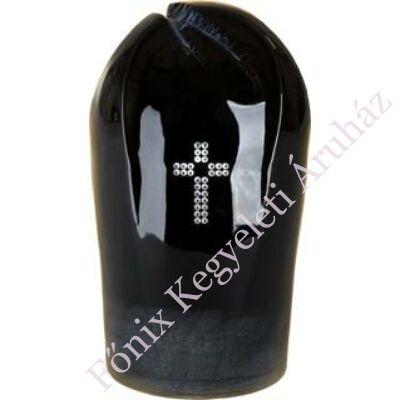 Különleges kerámia urna, strassz berakásos kereszt motívummal
