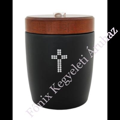Fekete kerámia urna kristály keresztes