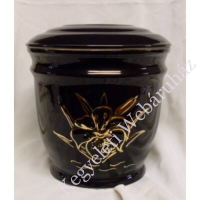 Fekete urna arany színű liliommal