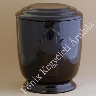 Fekete kerek urna vastag kereszttel