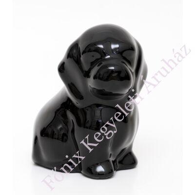 Fekete kutya, kerámia ereklyetartó, mini urna