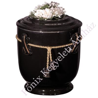 Fekete kerek urna zsinórral, virággal