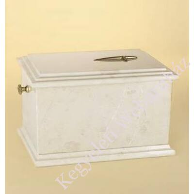 Márvány (onyx) urna, tört fehér-bézs tónusú