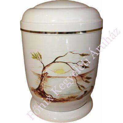 Fehér, cédrus fém urna