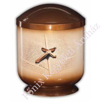 Fém urna Bibliával, kereszttel