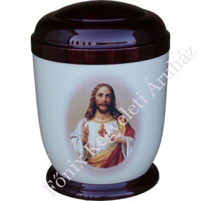 Színes, fém urna Jézussal