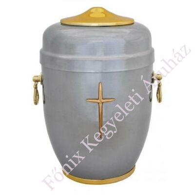 Szürke-arany fém urna, kereszttel
