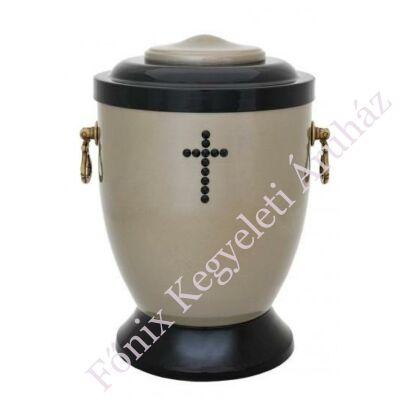 Keresztes szürke-fekete fém urna