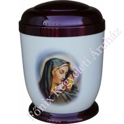Színes, fém urna Máriával