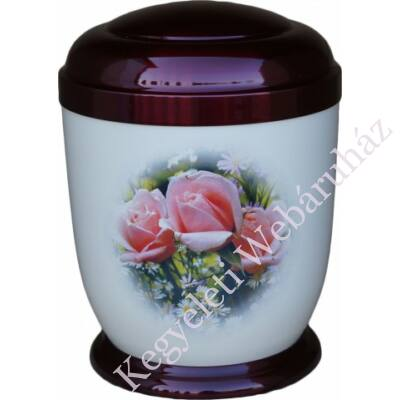 Színes, rózsás fém urna