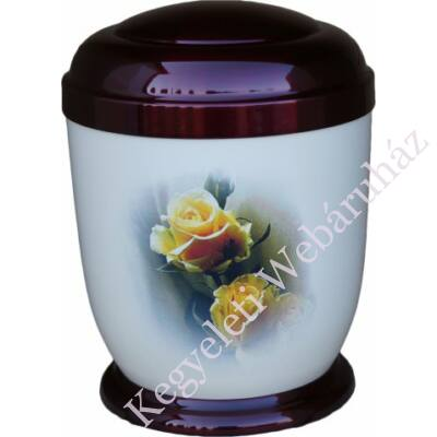 Sárga rózsás fém urna