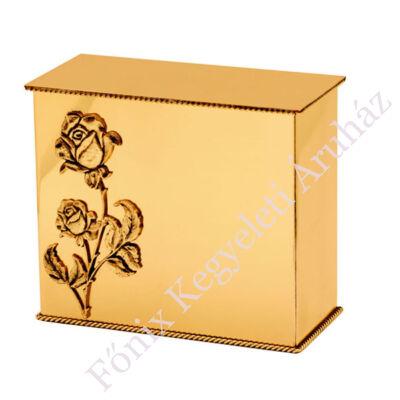 """Fényes felületű, hagyományos sárgaréz """"iker"""" urna, rózsa mintával"""