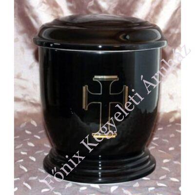 Fekete kerek urna széles kereszttel