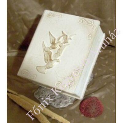 Különleges, galambos mintájú könyv urna fehér színben