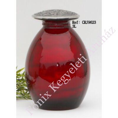 Különleges vörös fém-üveg urna
