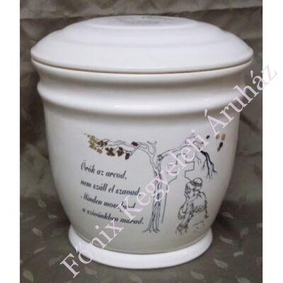Fehér kerámia urna idézettel nőalakkal