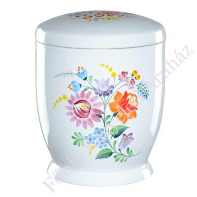 Fehér kerámia urna kalocsai mintával
