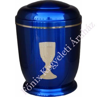 Kék, arany kelyhes fém urna