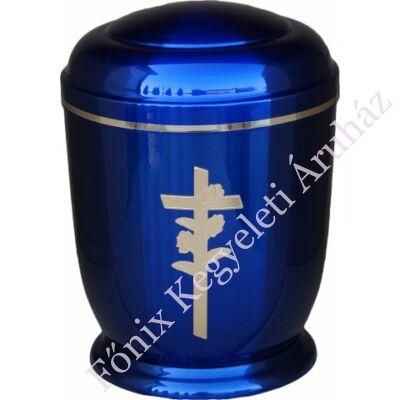 Kék, arany rózsa keresztes fém urna