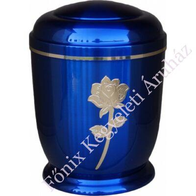 Kék, arany rózsás fém urna