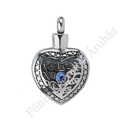 Kék köves szív kegyeleti ékszer medál