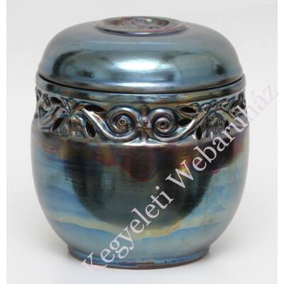 Kék áttört, vésett kerámia urna