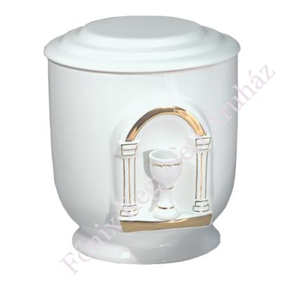 Fehér kerek urna domború kehellyel