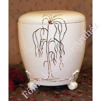 Kézi festett kerámia urna fűzfával