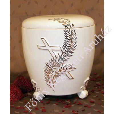 Kézi festett kerámia urna ágas kereszttel