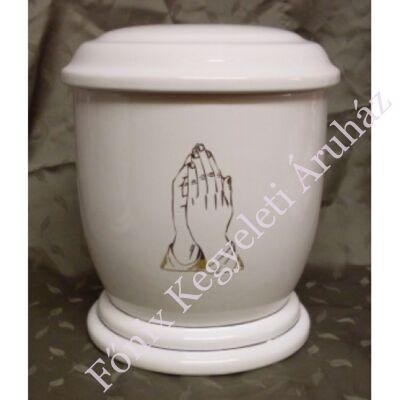 Fehér urna arany imádkozó kéz