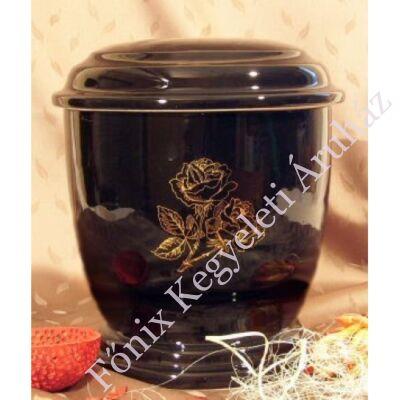 Kerek fekete urna rózsa dekorral