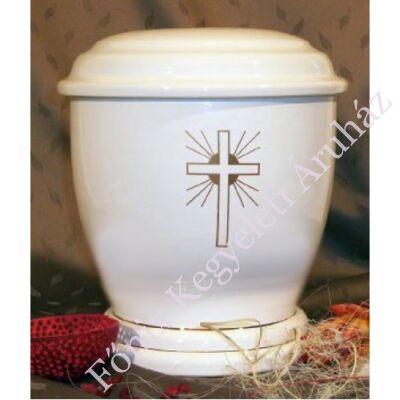 Fehér kerek urna kereszttel