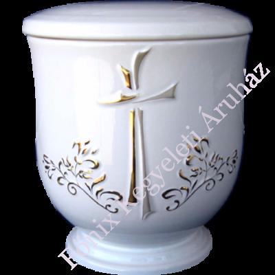 Keresztes, aranyozott kerámia urna - fehér