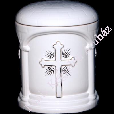 Keresztes, oszlop motívummal díszített, aranyozott kerámia urna