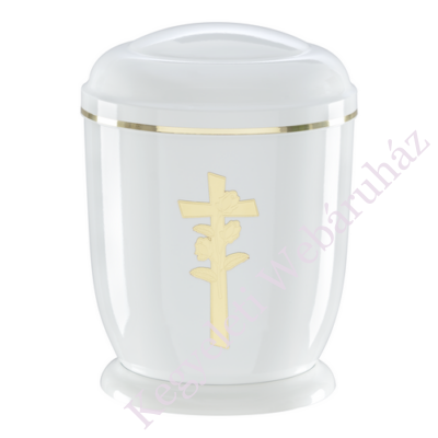 Fehér, rózsa keresztes fém urna