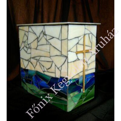 Keresztes üvegmozaik urna - kékes-bézs