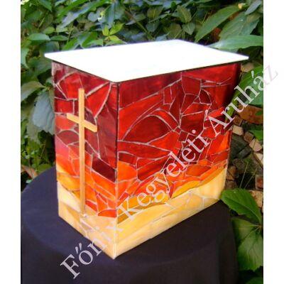 Keresztes üvegmozaik urna - vöröses