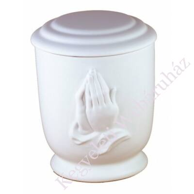 Fehér mázas urna imakézzel