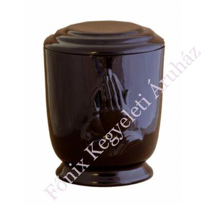 Fekete mázas kerek urna imakézzel