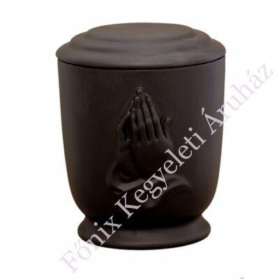 Matt fekete urna imádkozó kézzel